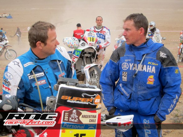 Jonah Street (right) waiting to start stage 9 in the 2011 Dakar Rally