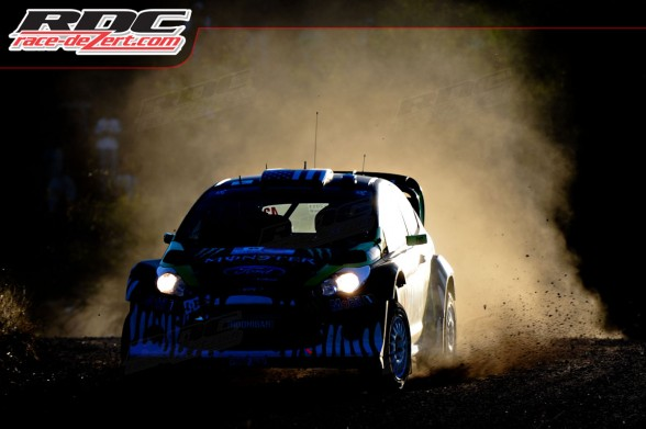WRC driver Ken Block (USA) and co driver Alex Gelsomino (USA) drift a corner during super special 1 Carlos Paz