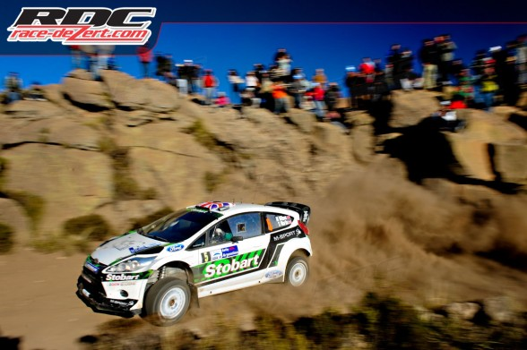 WRC driver Matthew Wilson (GBR) and co driver Scott Martin (GBR) drift a corner during special stage 6 - giulio cesare