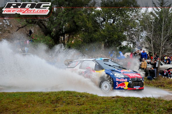 WRC driver Sebastien Loeb (FRA) and co driver Dani Elena (MCO) drive through a water crossing on special stage 17 cablango I  during Rally Argentina.  Loeb won the rally by 2.4 seconds over Horvonen.WRC driver Sebastien Loeb (FRA) and co driver Dani Elena (MCO) drive through a water crossing on special stage 17 cablango I  during Rally Argentina.  Loeb won the rally by 2.4 seconds over Horvonen.