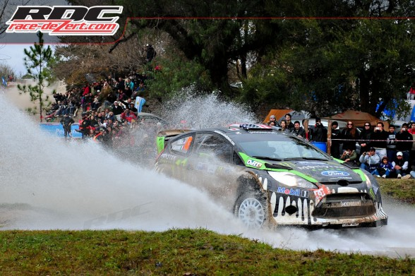 WRC driver Ken Block (USA) and co driver Alex Gelsomino (USA) drive through a water crossing on special stage 17 cablango I