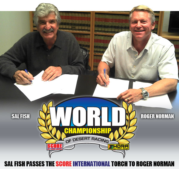 Sal Fish Passes the SCORE International Torch to Roger Norman