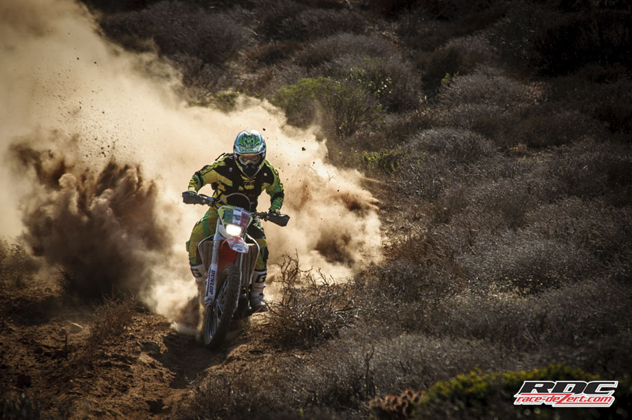 Silt and dust became a problem for some but not for this Basher who strikes first on this trail