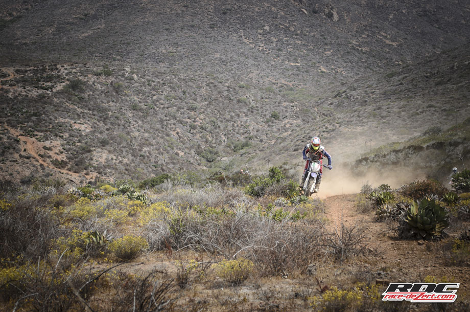 Manny rips out of a canyon on Chilly White's borrowed SHERCO. Chilly tests dirt bikes for his website Enduro 360