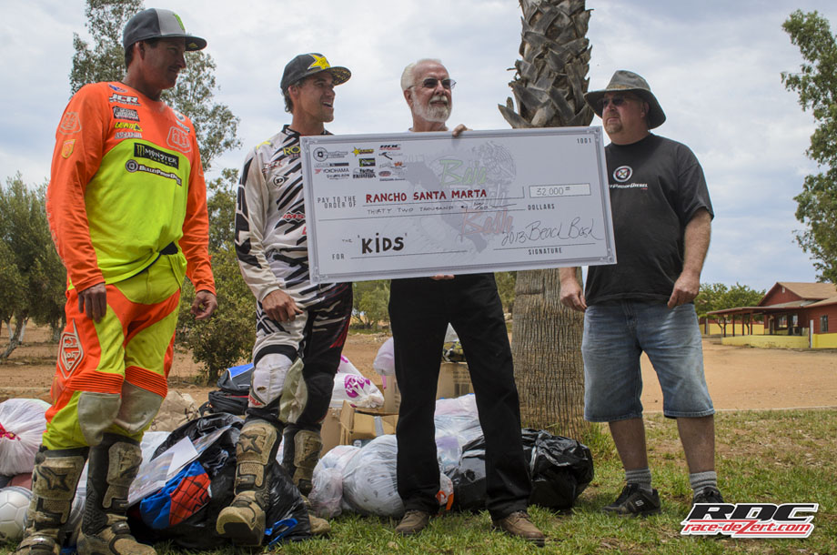 """""""Donors Rule""""- RSM Director Bill Laurence holds the big check for $32,000.00 with benefactor Ken Neal of Bulletproof Diesel and Bash Bosses Johnny Campbell and Cameron Steele"""