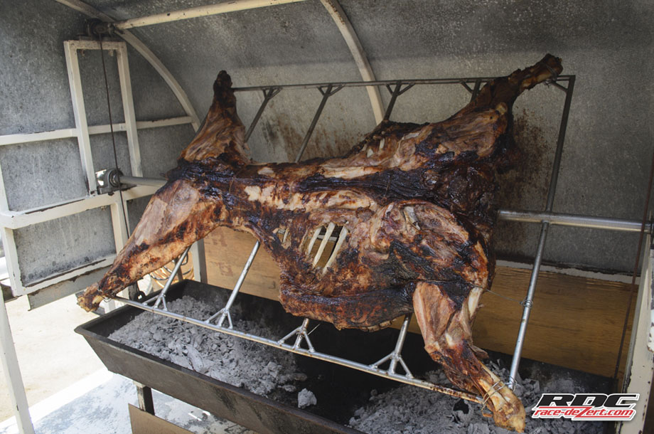 Roasting pig spins on the spit at Acambaro