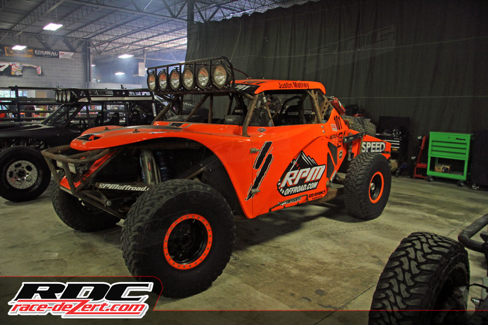 The 2013 Baja 500 Class 1 winning Geiser Truggy driven by Justin Mattney was also on display in the large shop.