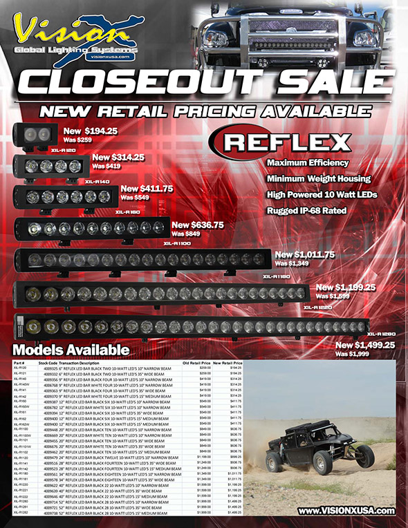 Vision X Lighting located in Seattle Washington was established in 1997 with the mission to revolutionize the lighting industry. & Vision X Lighting Announces Closeout Sale for Reflex LED Light Bar ... azcodes.com