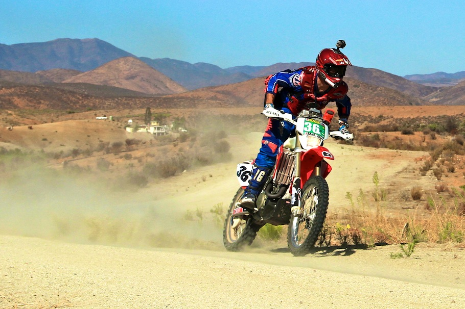 Grider bombs the fast, smooth roads around San Vicente in Baja CA's wine country.