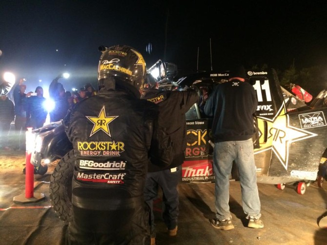During the night time Pit stop for Rob MacCachren