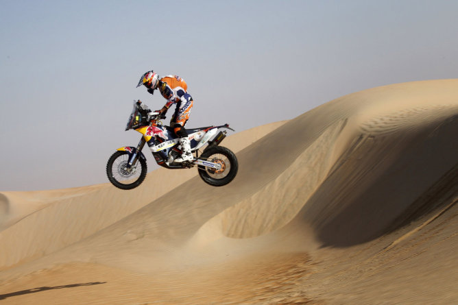 Sam Sunderland destroyed his frame and swing arm landing this drop late in his debut rally with KTM. Photo courtesy of REDBULL