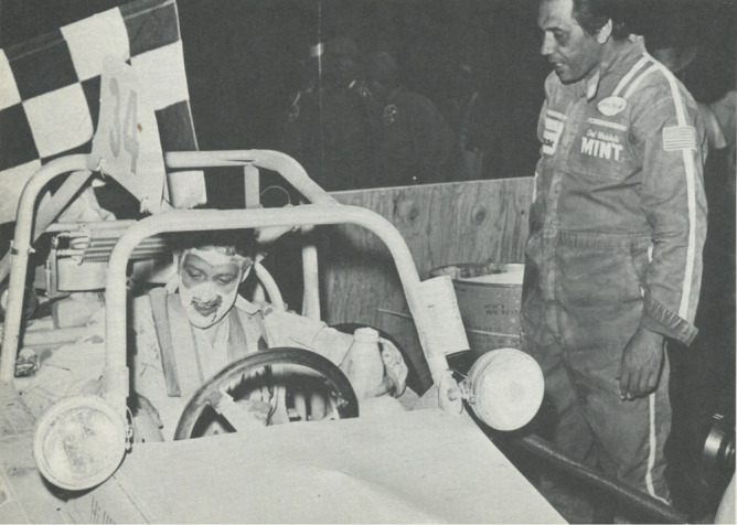 REPEAT WINNER—Jess W. Hinkle (standing) competed in 1972 Mint 400, and was at finish line when Fritz Kroyer received checkered flag.