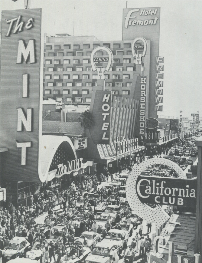 DOWNTOWN GLITTER GULCH—Since 1968, Fremont Street has been like this one day each year. In 1969, cars and motorcycles stretched three blocks. (Las Vegas News Bureau)