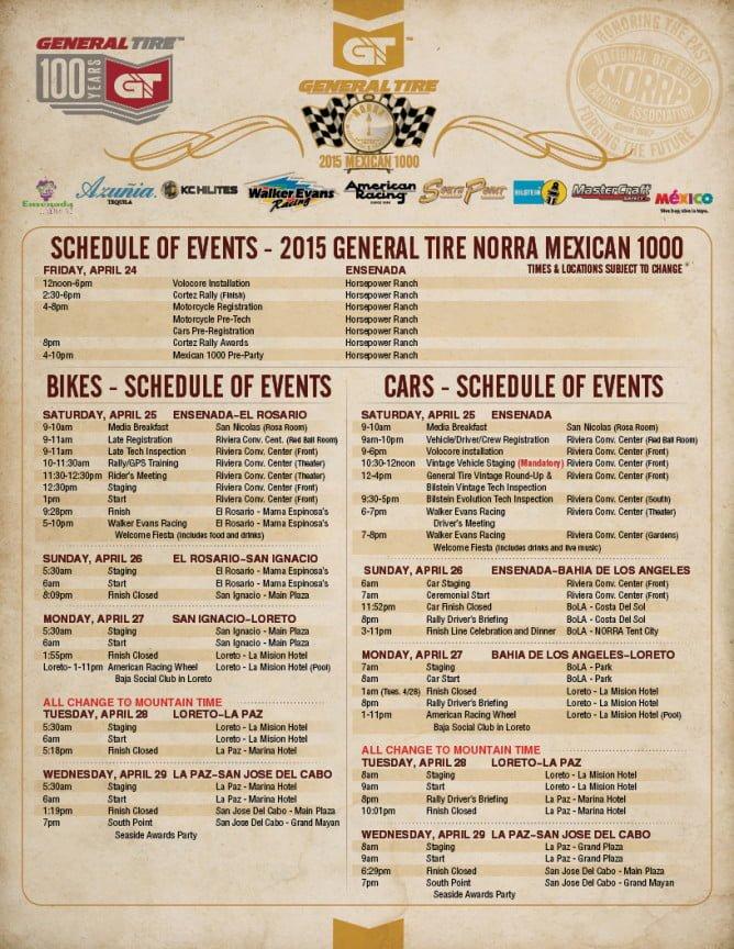 NORRA 2015 Schedule Of Events PR