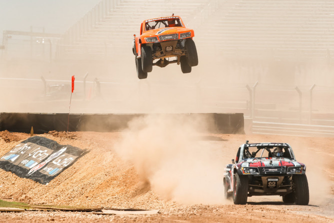 Austin, TX - June 7, 2015 - Circuit of The Americas: Sheldon Creed and Robby Gordon competing in Off Road Truck Racing Final during X Games Austin 2015(Photo by Eddie Perlas / ESPN Images)