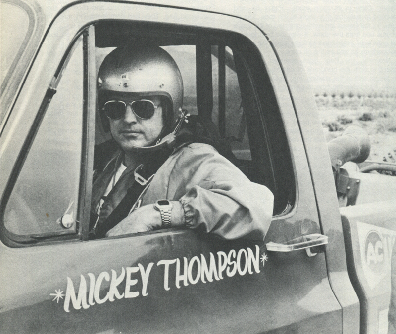 EARLY RACER—Mickey Thompson shown here in one of the early pickup trucks he drove in off-road races. (Rapid Pace, Inc.)