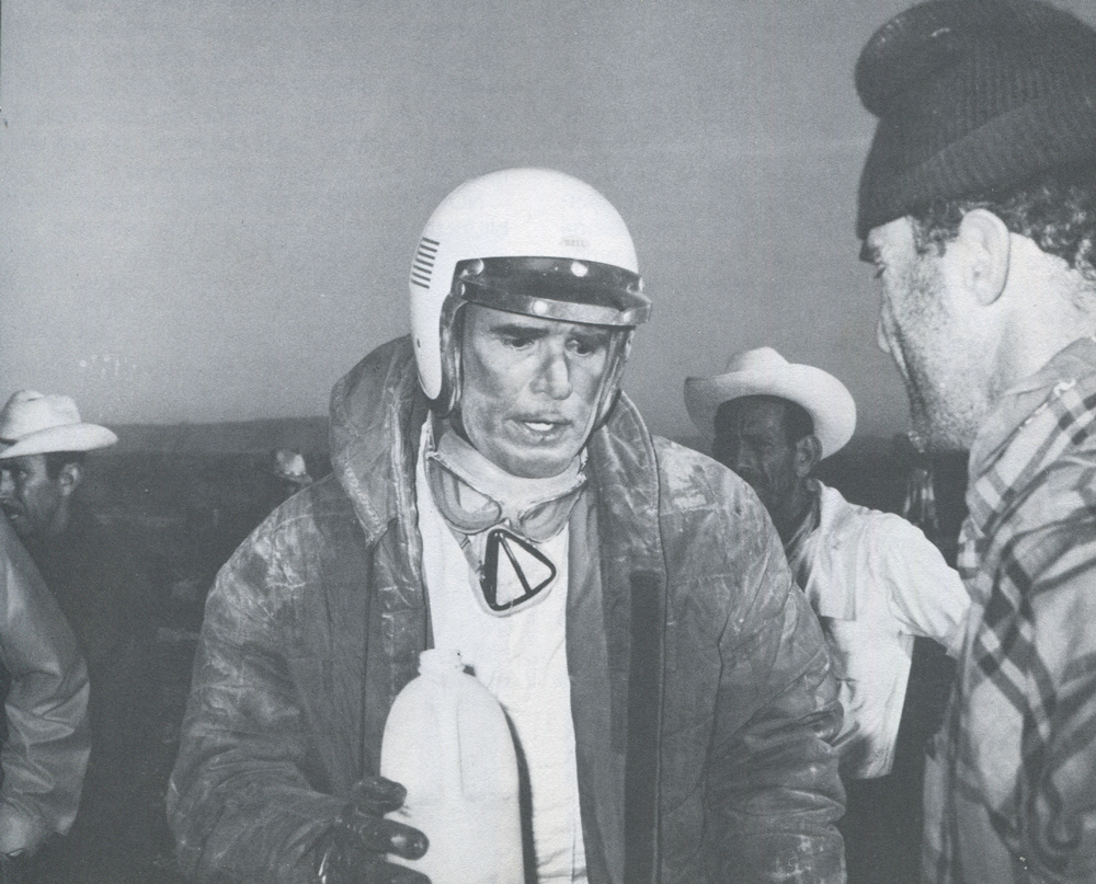 James Garner, a bit the worse for wear. '68 MEXICAN 1000.