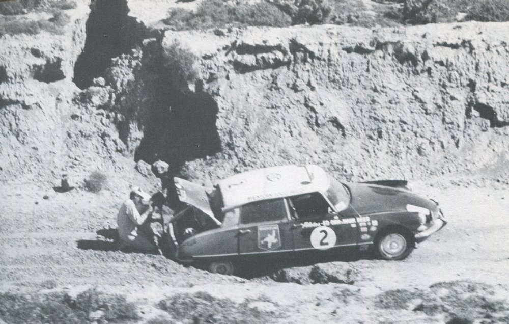 Early casualty: the Mark Rees, Ed Orr ID 195 Citroen, which was finally abandoned near Santa Ynez. This car, or pieces of it, acted as a course marker and spare parts bin for several years. (Image Intl. Photo)