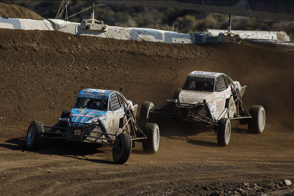 Trey D. Gibbs (front) made it back-to-back first-time winners in Pro Buggy with his win on Sunday. Photo: Lucas Oil Off Road Racing Series