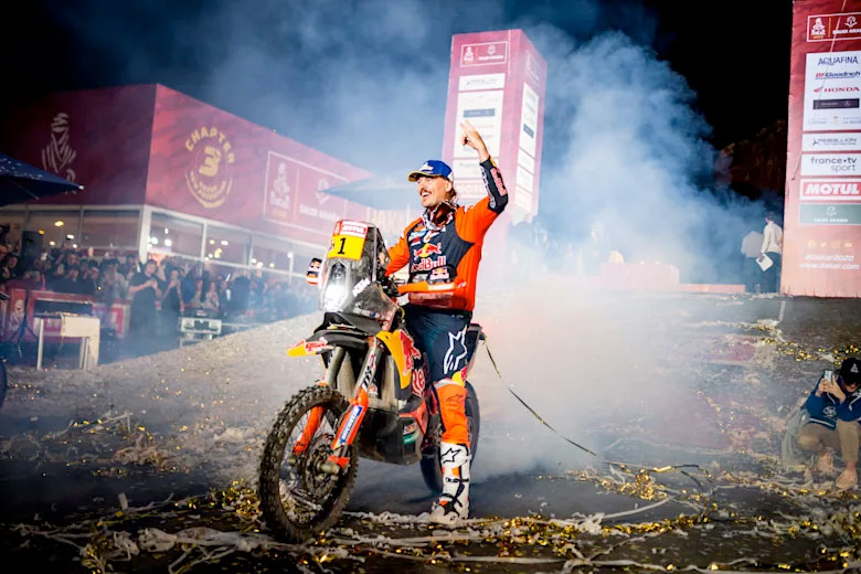 Toby Price celebrates third at Dakar 2020. © Red Bull Content Pool
